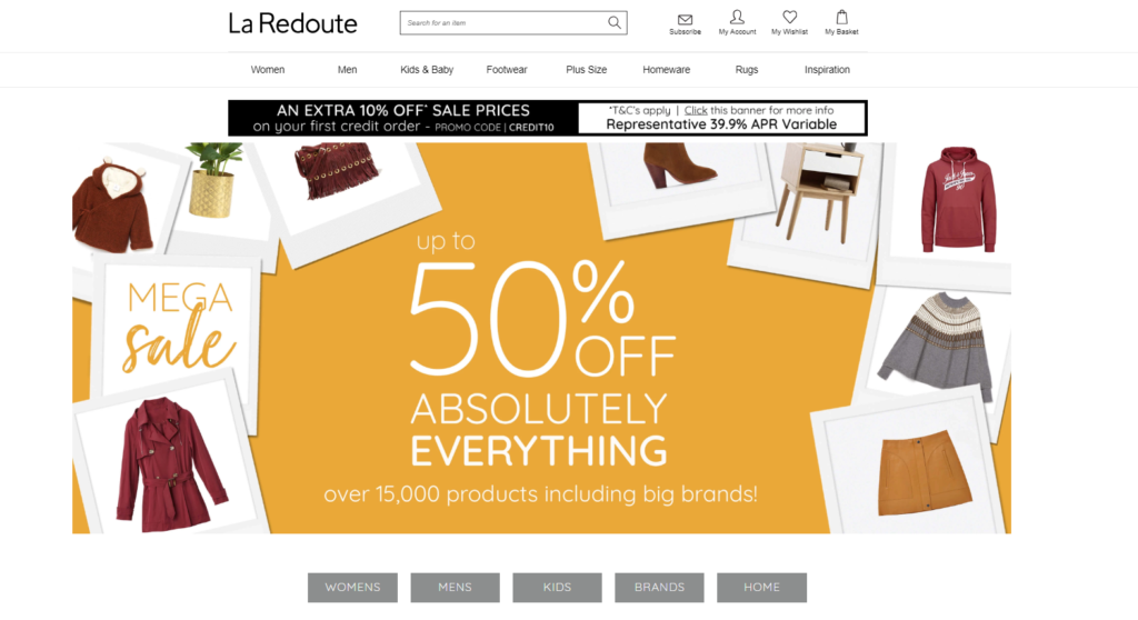 laredoute catlogues for clothing with bad credit